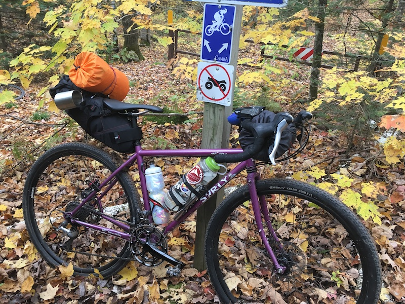 Right profile of a Surly Straggler bike, purple, loaded with gear, leaning on a 4x4 sign post on the woods