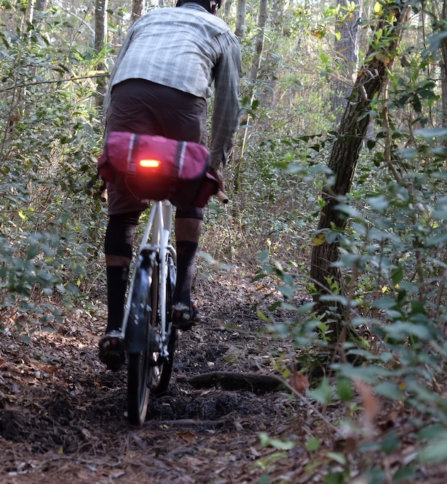 Rear view of a cyclist riding down a leafy trail in the woods on a Surly Midnight Special bike, white and red seat pack