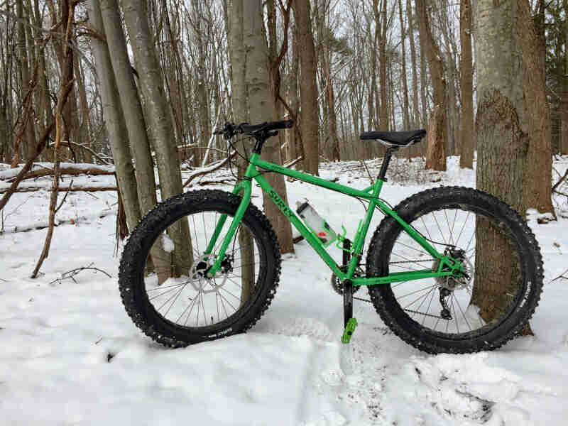 Left side view of a green Surly fat bike, parked against a tree in a snow covered forest