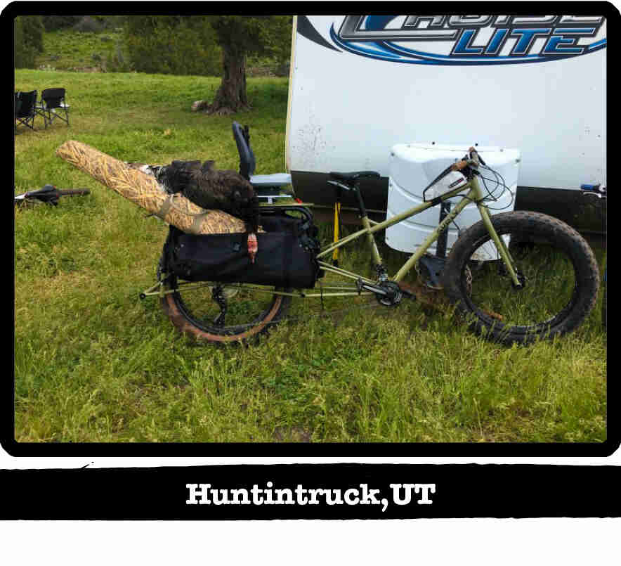 Right side view of a Surly Big Fat Dummy bike, green, on grass in front of a camper - Huntintruck, UT tab below image