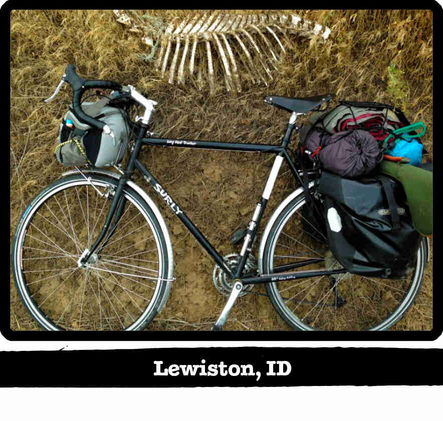 Downward view of a green Surly Long Haul Trucker bike, laying on right side in grass - Lewiston, ID banner below image