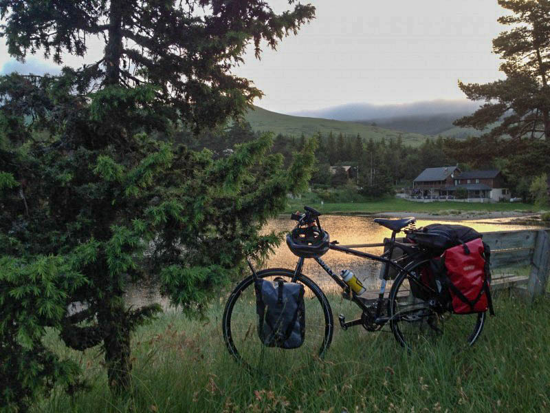Left side view of a Surly bike, standing in tall grass, with trees, a house a and mountain in the background