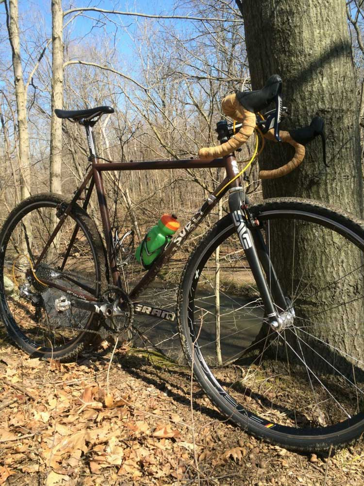 Right side view of a brown Surly Cross Check bike, parked on leaves against a tree in the woods