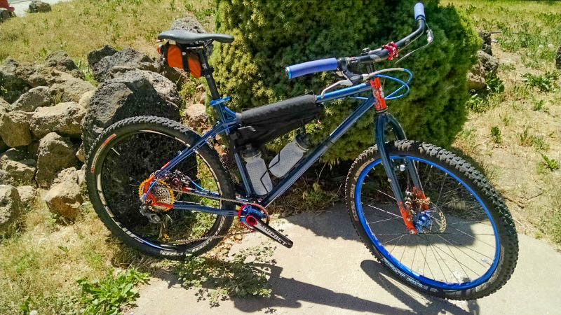 Downward right side view of a blue Surly bike in front of a bushy tree, with boulders in the background