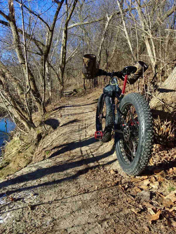 Rear of fat bike with handlebar hand protectors, on a dirt trail on top of a riverbank in the woods