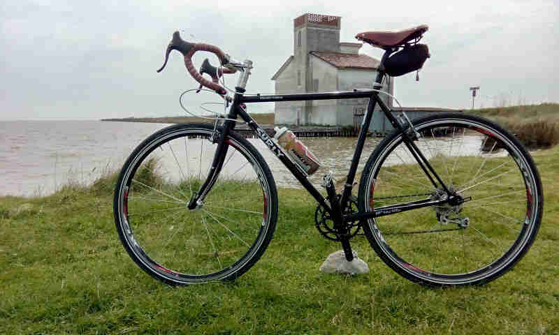 Left side view of a black Surly Cross Check bike, parked on a grass field, next to a bay, with a building across the bay