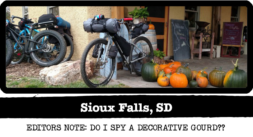 Front Left view of a Surly Karate Monkey bike, silver, in front of a store with gourds - Sioux Falls, SD tag below image