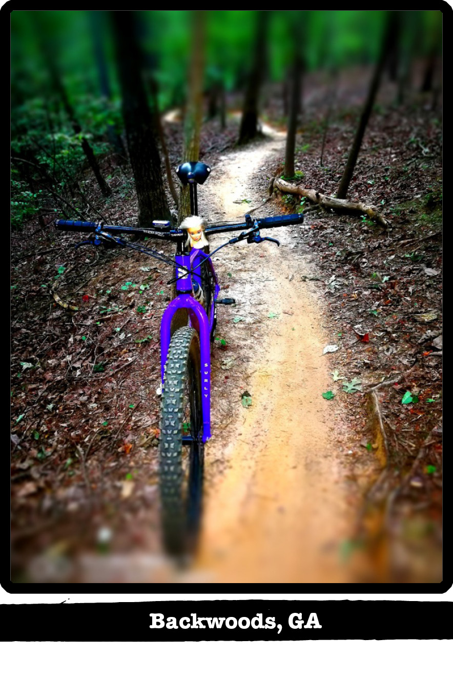 Front view of a Surly bike,purple, on a dirt trail in the woods-Backwoods, GA banner below image