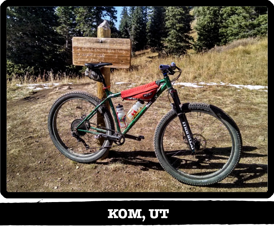 Right side view of a Surly bike,green, on dirt leaning against a wood sign post, pine trees behind-Kom, UT banner below image