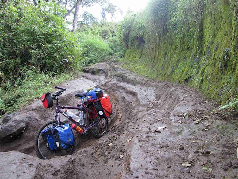 Front left view of Surly Troll bike, in a muddy trench, with a green cliff on one side and weeds on the other