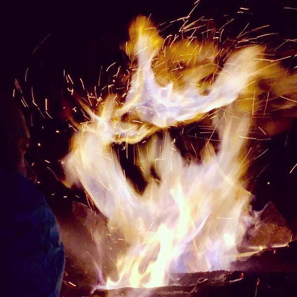 A campfire a night