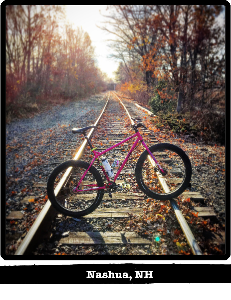 Right side view of a Surly bike, pink, across railroad track in the woods-Nashua, NH banner below image