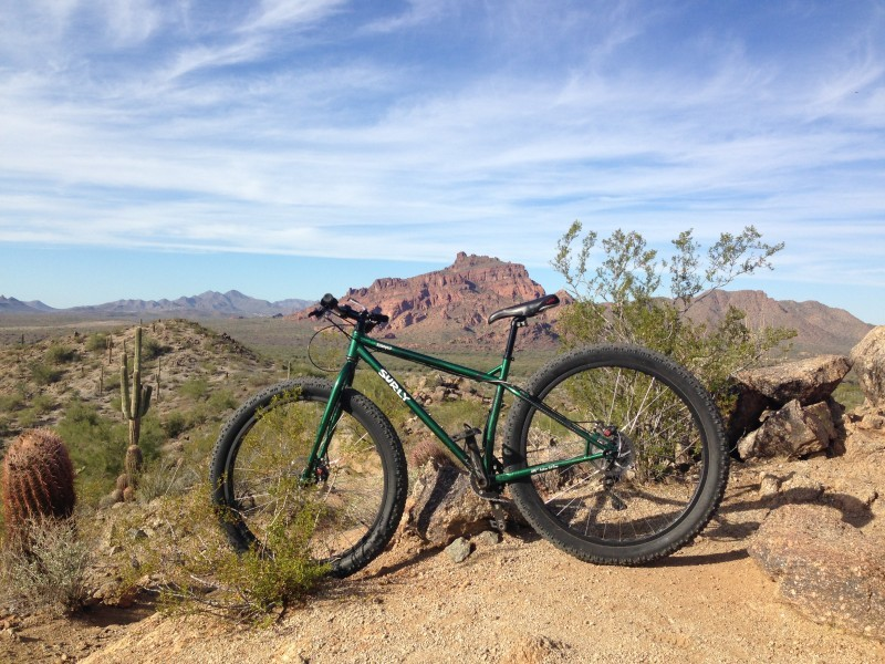 Left side view of a green Surly Krampus bike, on dirt mound in a brushy desert, with mountains in the background