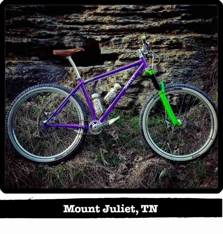 Right profile of a Surly Karate Monkey bike, purple, in front of a cliff wall - Mount Juliet, TN tag below image