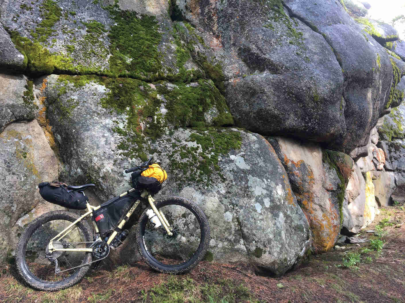Right side view of a Surly ECR bike, loaded with gear, against a rock wall