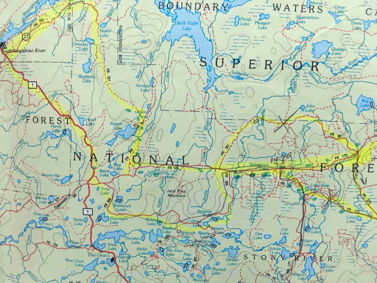 A map of the Superior National Forest