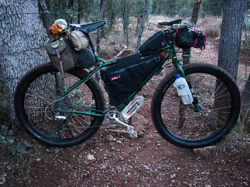Right side view of a green Surly Krampus bike with gear, parked across a dirt trail in the forest, between 2 trees