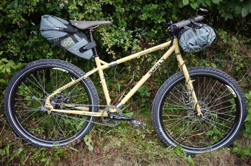 Right profile of a Surly Troll bike, in the grass, with weeds in the background
