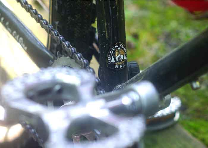 Zoom in of a bike showing the pedal and seat tube with a Golden Triangle BIke sticker