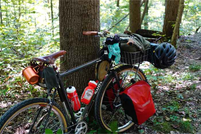 Right side angle view of Surly Pack Rat bike loaded with gear leaning on a tree in the woods