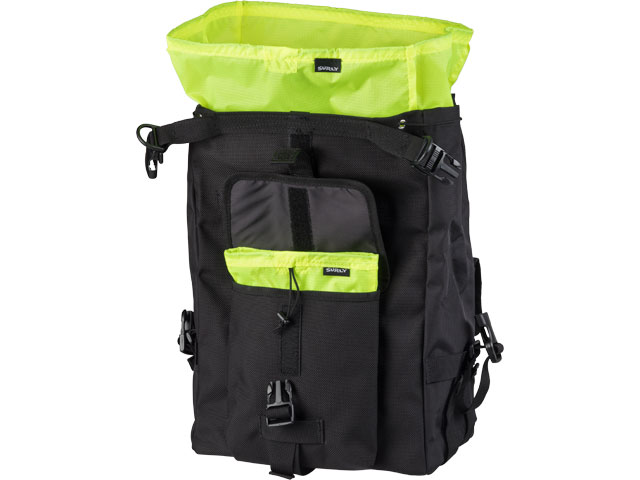A Surly Petite Porteur House bag, black outside and lime green inside