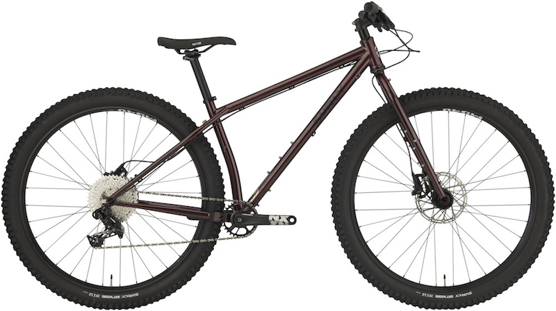 Right side profile view of a Surly Krampus bike, colored in Pickled Beet Red, against a white background