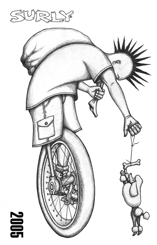 Surly Bikes 2005 catalog cover - animated pencil drawing of a unicycle person with spiked hair - black & white