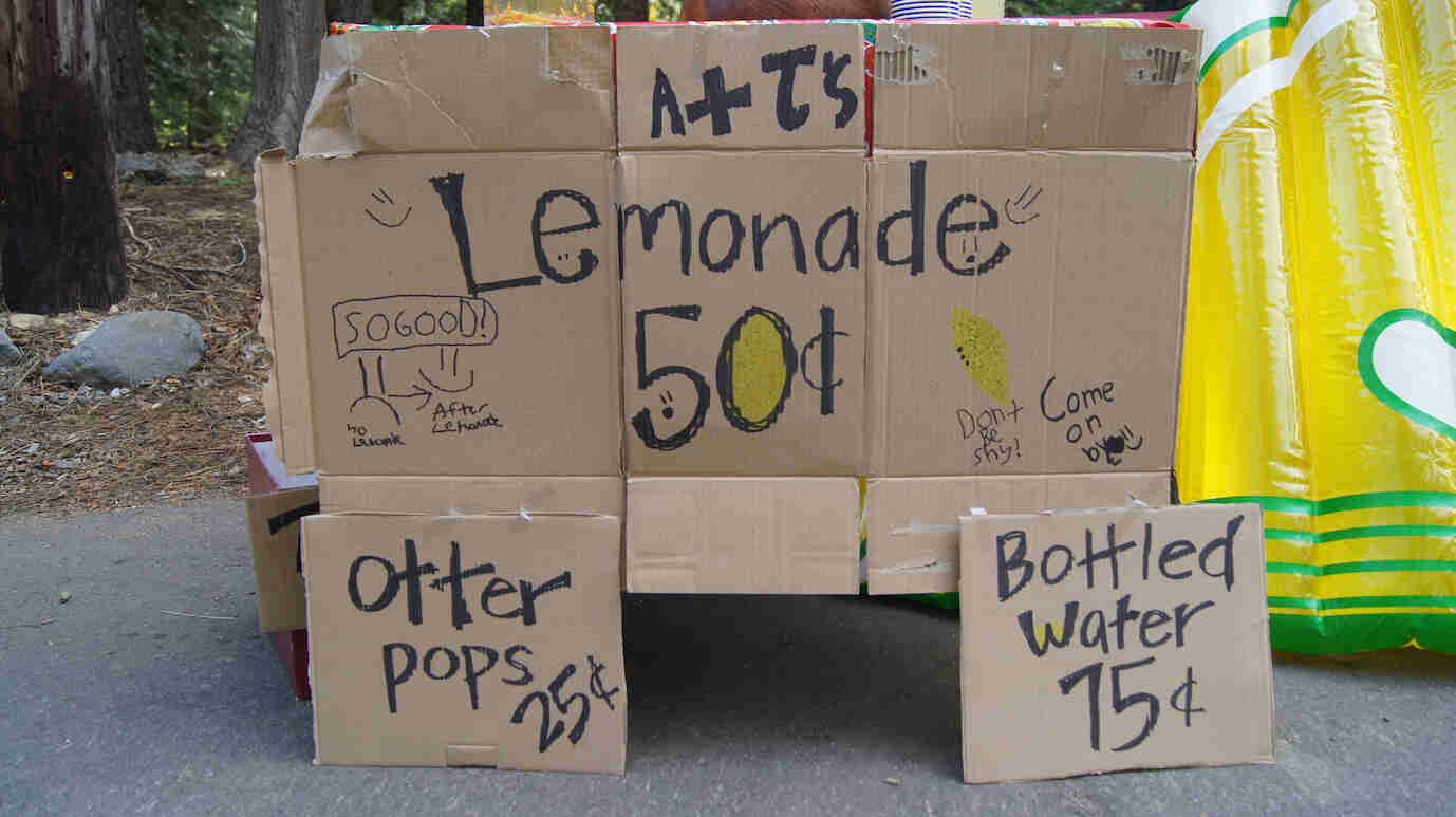 A cardboard sign for a lemonade stand