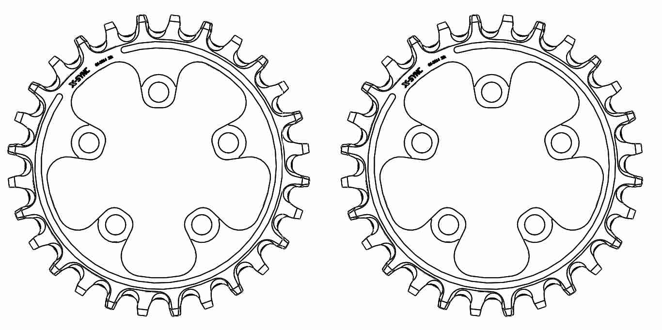 Engineering, black and white drawing of a Surly X-Sync Narrow-Wide chainring
