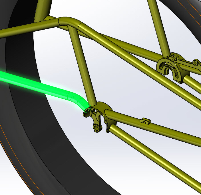 CAD illustration of a Surly Bike Fat Dummy bike frame - chainstay detail