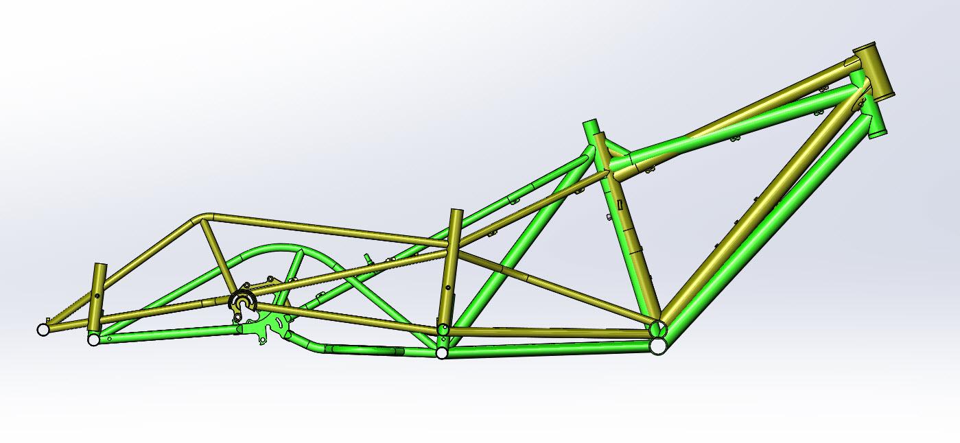 CAD illustration of a Surly Bike Fat Dummy bike frame and Kawi bike frame - overlays - right profile