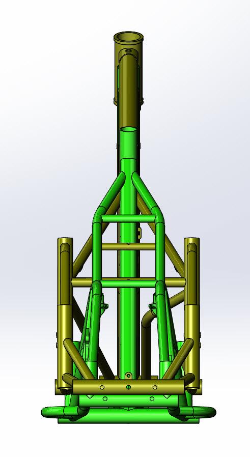 CAD illustration of a Surly Bike Fat Dummy bike frame and Kawi bike frame - overlays - rear view
