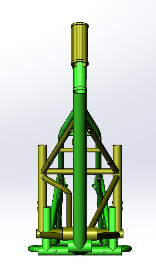 CAD illustration of a Surly Bike Fat Dummy bike frame and Kawi bike frame - overlays - front view