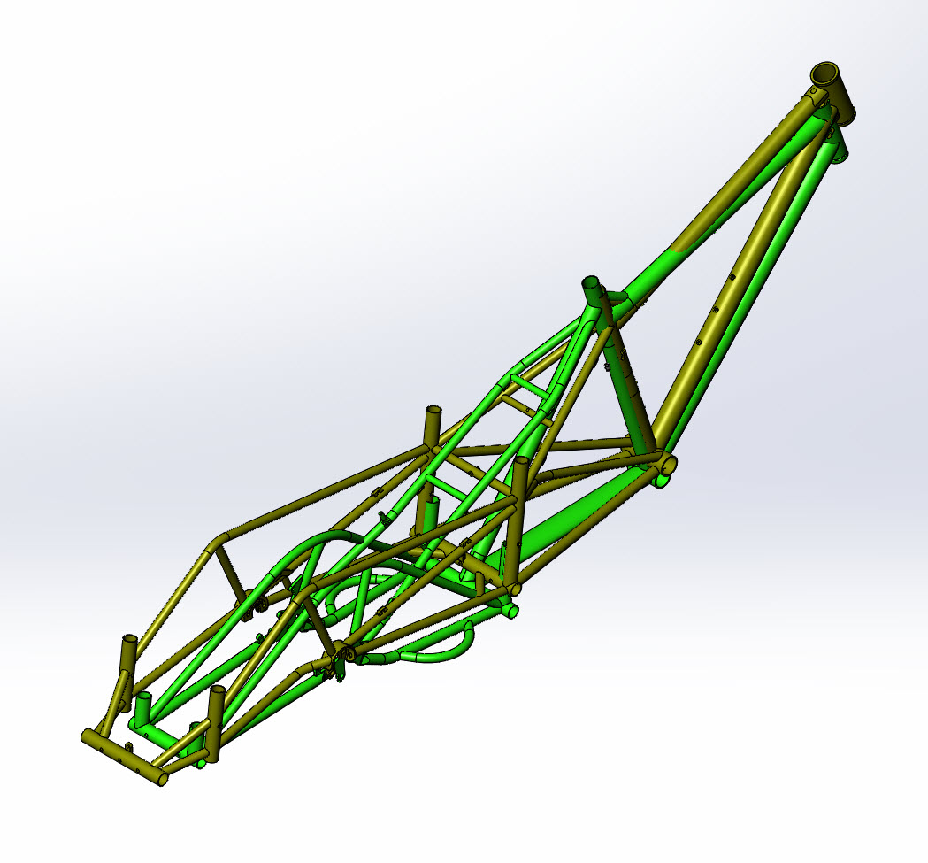CAD illustration of a Surly Bike Fat Dummy bike frame and Kawi bike frame - overlays - rear right side angle view