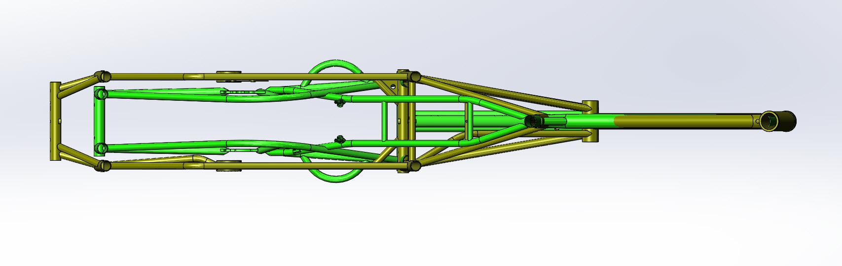 CAD illustration of a Surly Bike Fat Dummy bike frame and Kawi bike frame - overlays - overhead view