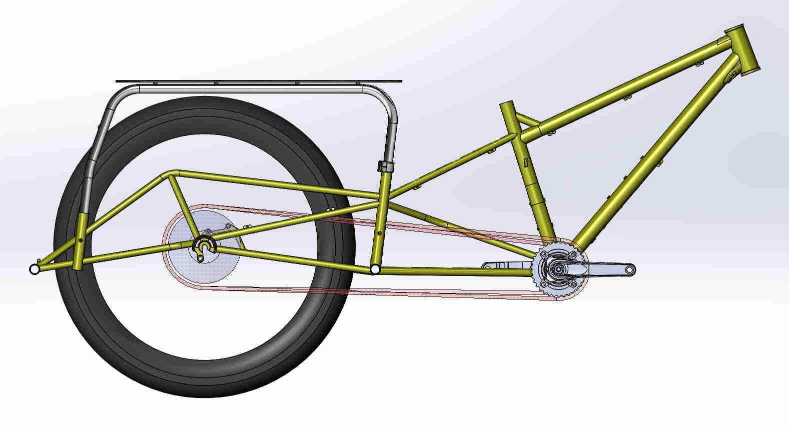 CAD illustration of a Surly Bike Fat Dummy bike frame, drive train, rear wheel and rear rack-assembly- right side view