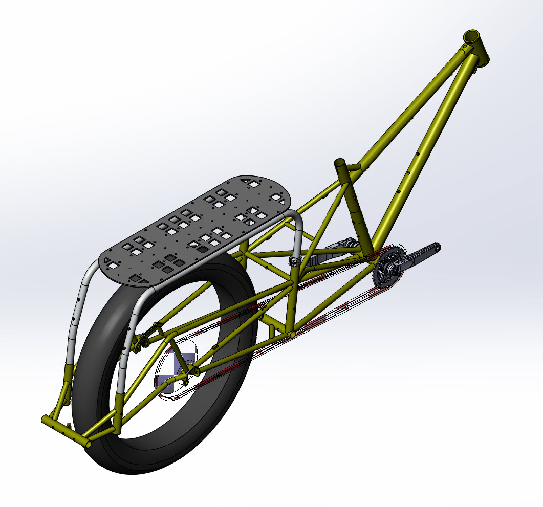 CAD illustration of a Surly Bike Fat Dummy bike frame, drive train, rear wheel and rack-assembly- right rear angled view