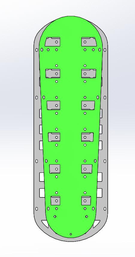 CAD illustration of a Surly Bike Fat Dummy bike deck -  comparison - right side