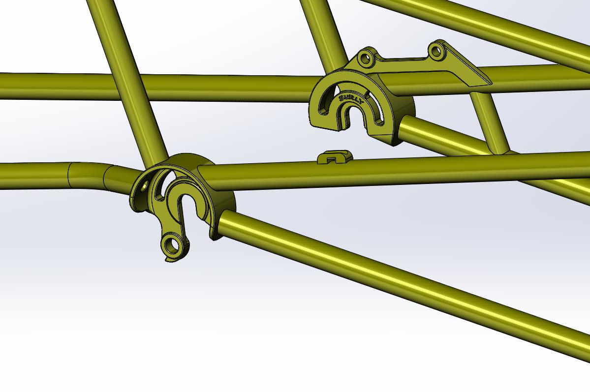 CAD illustration of a Surly Bike Fat Dummy bike frame - dropout detail - right side