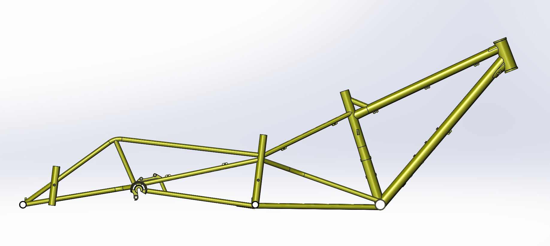 CAD illustration of a Surly Bike Fat Dummy bike frame - right side view