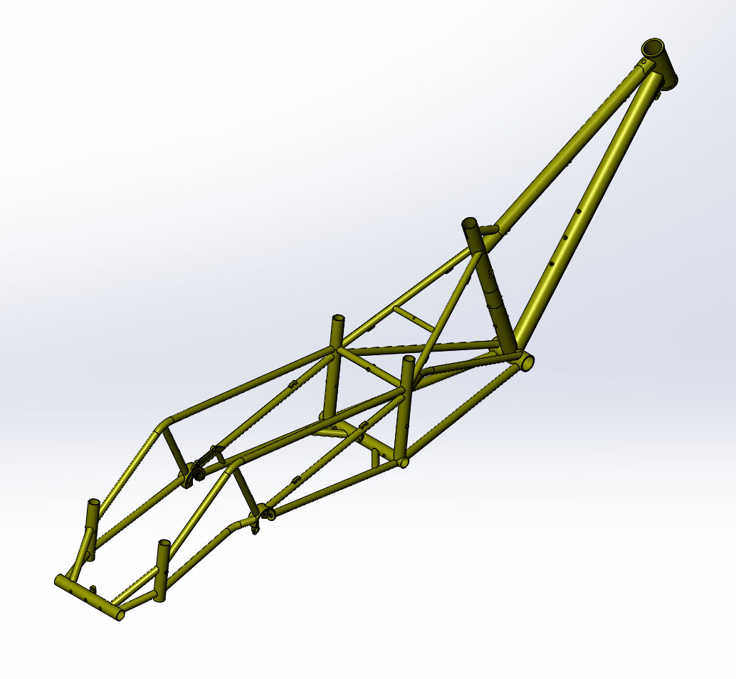 CAD illustration of a Surly Bike Fat Dummy bike frame - rear right side angled view