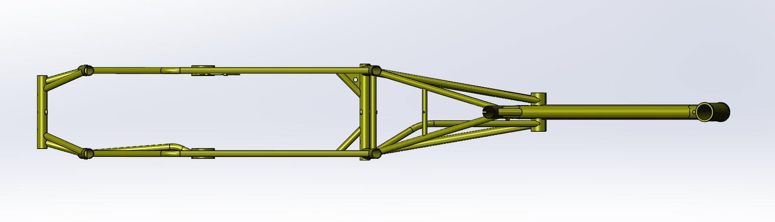 CAD illustration of a Surly Bike Fat Dummy bike frame - overhead view