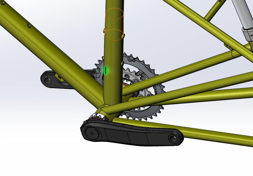 CAD illustration of a Surly Bike Fat Dummy bike frame - seat tube detail