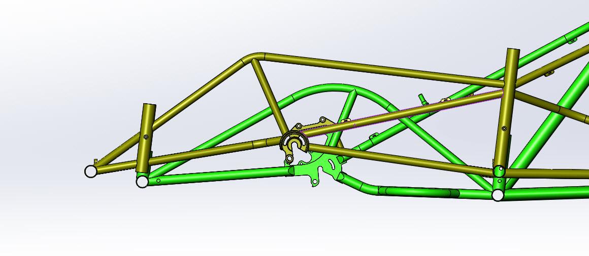 CAD illustration of a Surly Bike Fat Dummy bike frame - wideloader spacing detail  - right side