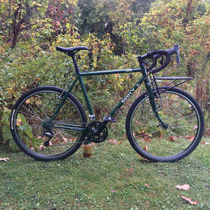 Right side view of a green Surly Pack Rat bike with front rack, standing in the grass with thick weeds in the background