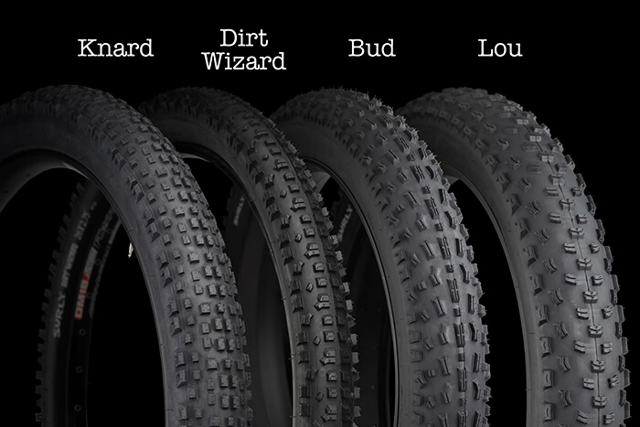 Surly Trail Tires on a Black Background