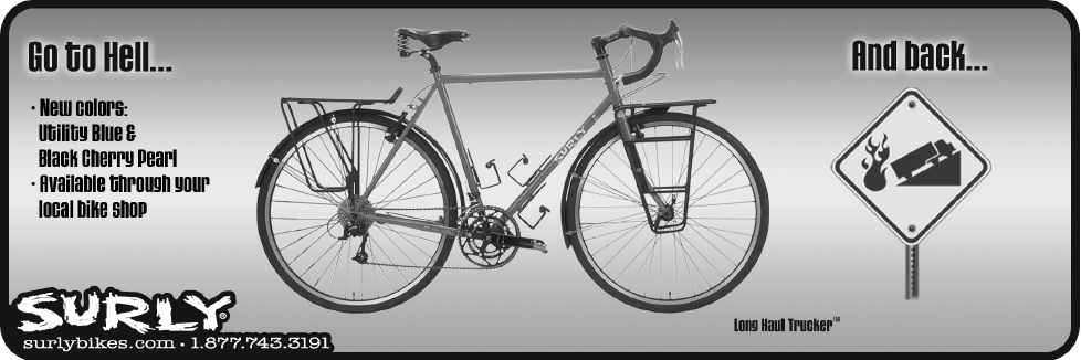 Black and white ad for a Surly Long Haul Trucker bike, titled