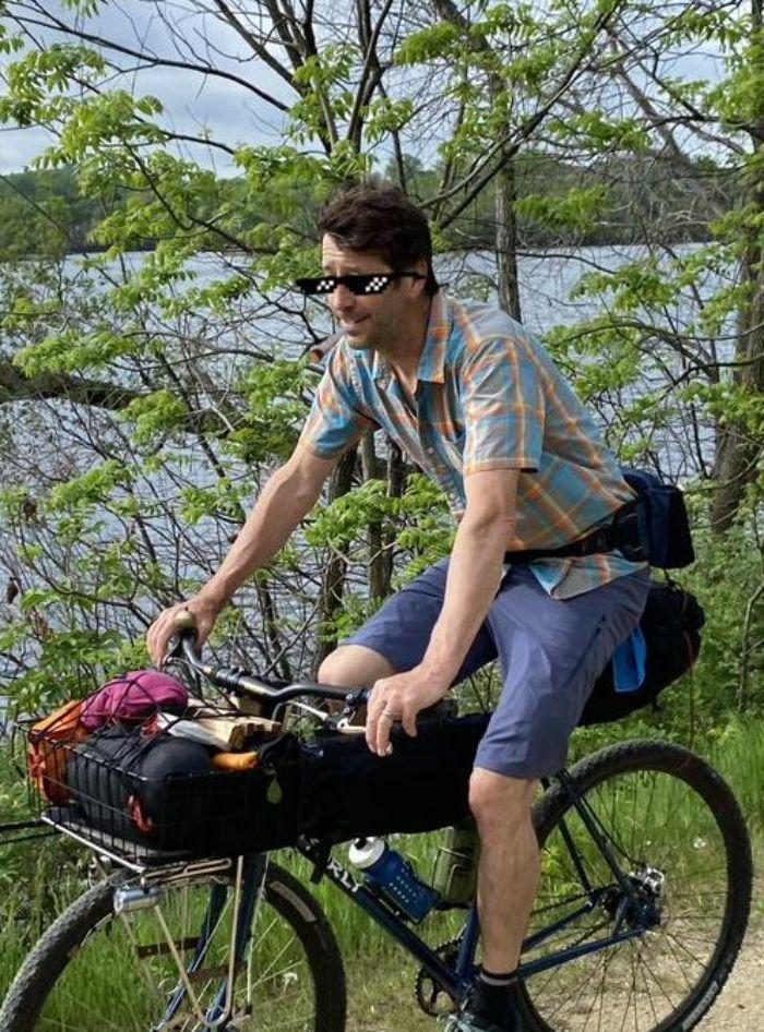 Paul Riding his bike home