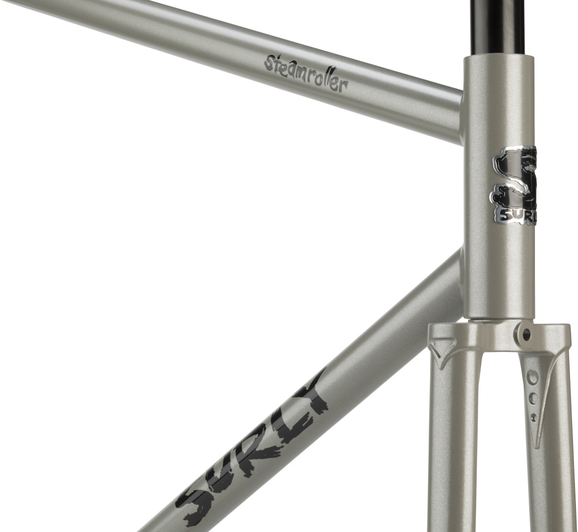 Partial front view of a Surly Steamroller bike frame and fork - Ministry Gray color
