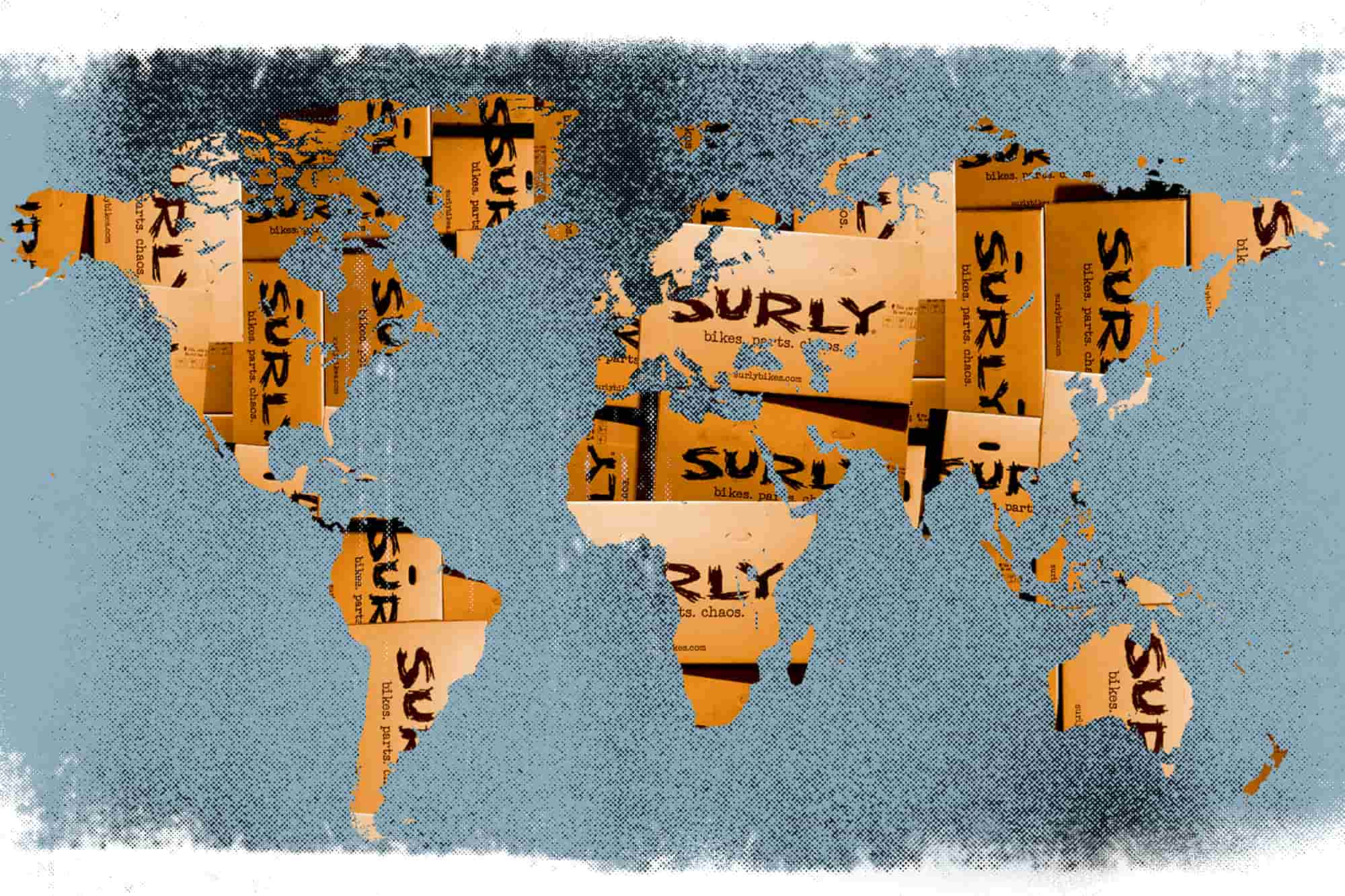 World map illustration with gradient orange Surly banner cut outs with the words bikes. parts. chaos. over continents